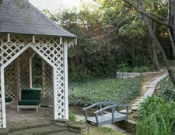 The gazebo at the backyard of the garden