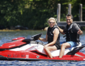 Mitt Romney, former governor of Massachusetts was seen enjoying a jet skiing session with his wife.