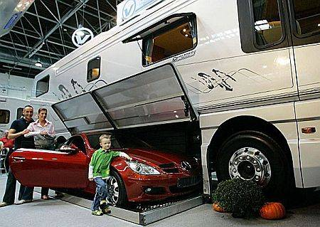 motorcoach with built in garage