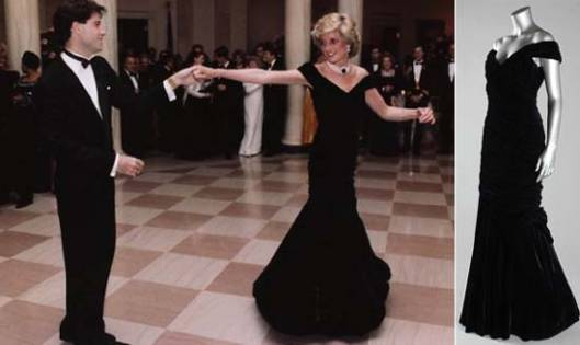 Princess Diana's Midnight-Blue Velvet Gown Worn To Dance With John Travolta in 1985 is up for grabs