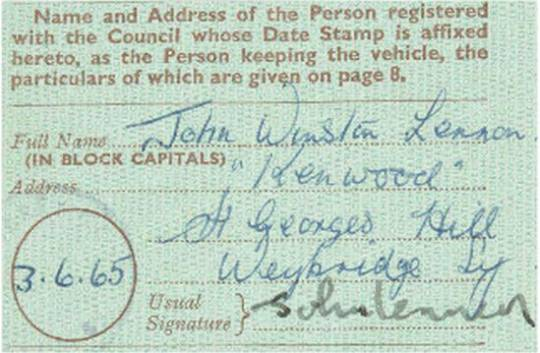 John Lennon's signed Rolls Royce registration card