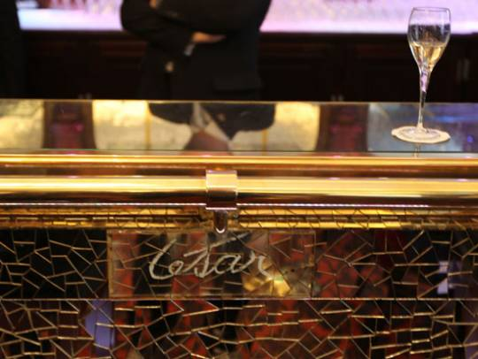 Paris' Crillon Hotel reception counter with French sculptor Cesar's signature