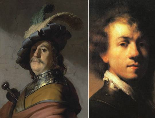 A Bust of a Man in a Gorget and Cap painting and Rembrandt