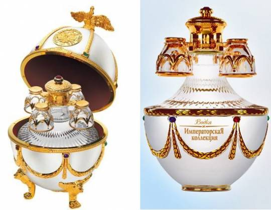 Ladoga Imperial Vodka in Faberge inspired eggs