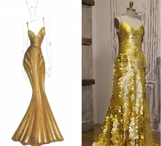 Zac Posen designs 24k gold dress