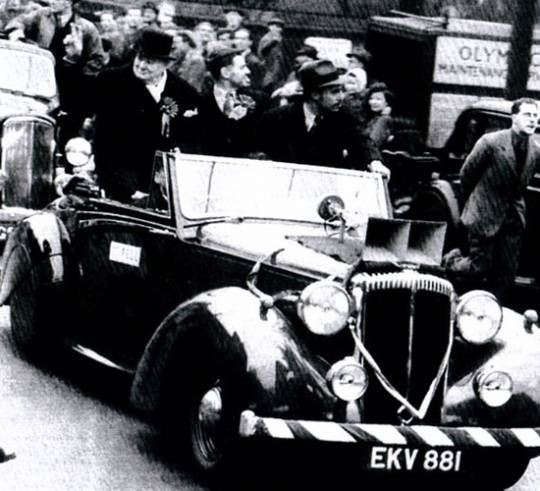 Sir Winston Churchill using the Daimler DB18 during one of his election campaigns