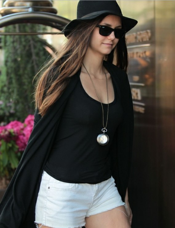 Nina Dobrev is a proud owner of J Brand Cut Off Shorts
