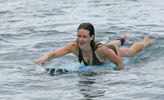 Evangeline Lily enjoys water sports in Hawaii on vacations