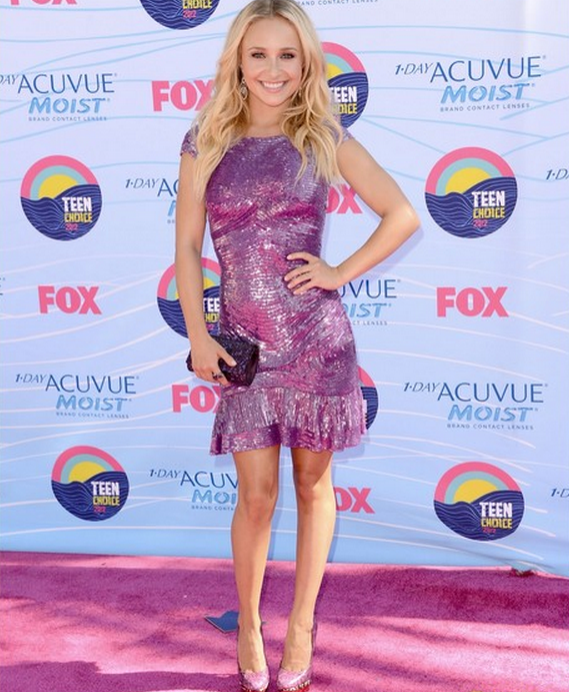 Hayden Panettiere showed up at the 2012 Teen Choice Awards wearing a leopard-print colorblock snakeskin Fontanne pump by B Brian Atwood.