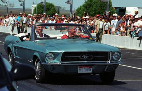 Bill Clinton drives 1967 Ford Mustang