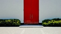 Red shade door