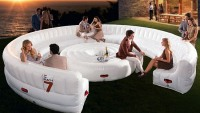 The $7,000 Beach7 AirLounge Inflatable party is good for a gathering for 30 not any pin-pricks