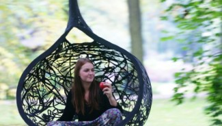 Hanging chair made out of Volcanic Rock