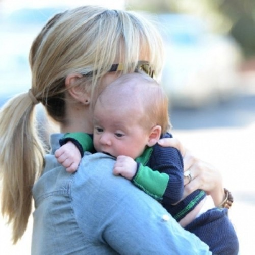 American actress Reese Witherspoon with his son