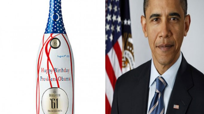 Berlucchi says 'Happy Birthday Mr.Obama' with the one-off wine bottle for the US President