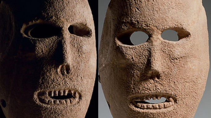 A Neolithic limestone mask for Christie's auction for $600,000
