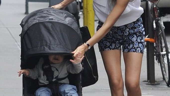 Miranda has been photographed wearing these high-end sandals while taking her baby for a walk.