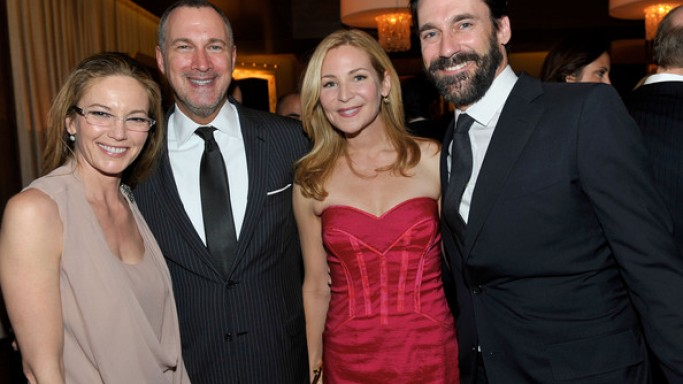 Diane Lane, Jon Hamm, Jennifer Westfeldt, and Edward Menicheschi at  Vanity Fair And Brioni Host Artists For Peace And Justice.