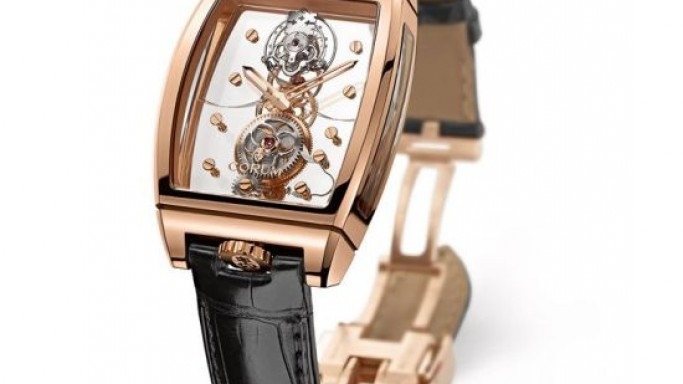 Corum Golden Bridge Tourbillon Panoramic features a flying tourbillon