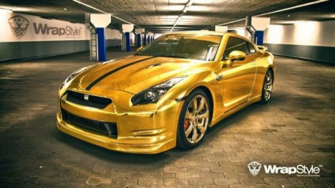 Nissan GT-R Gold by WrapStyle comes fitted with gold vinyl wrap and wheels finished in gold paint