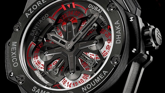Hublot King Power Unico GMT watch has a galore of 24 time zones on its dial!