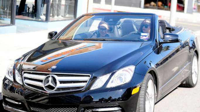 The actress has been frequently spotted driving around in her $ 150,000 metallic blue Mercedes-Benz E350 convertible