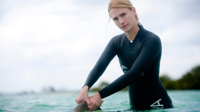 January Jones has traveled to the Bahamas to assist with research on nurse and lemon sharks.