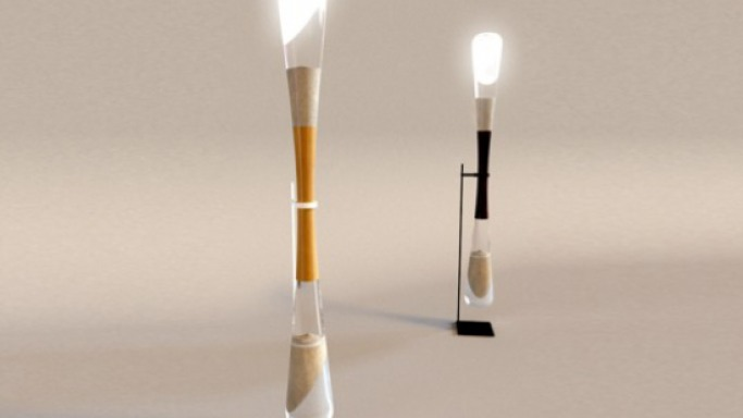 Danielle Trofe's Hourglass LED Lamps use the power of falling sand to light up