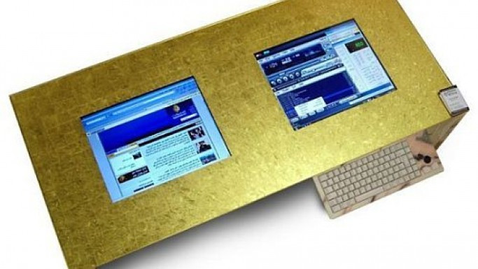 Fully Customizable High Tech Multimedia Table –Able Gleams with 23 karat Leaf Gold Top