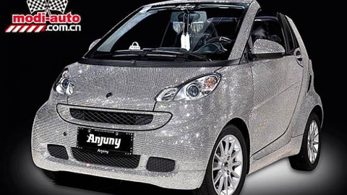 Anjuny's Swarovski crystal covered Smart convertible for China