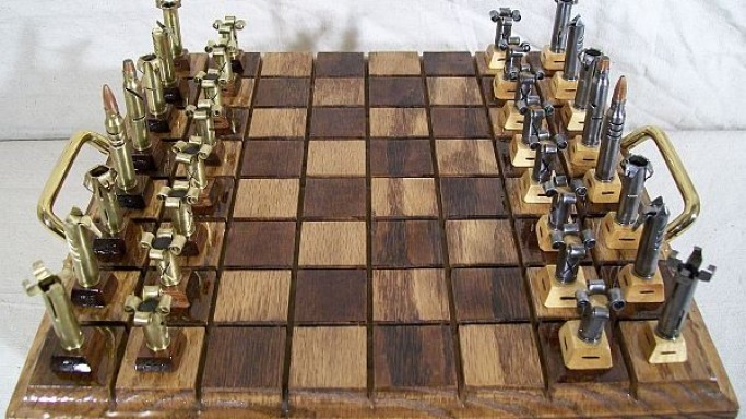 Caliber .223 bullet chess set wants you to make your moves cautiously