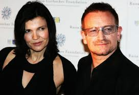 Bono with beautiful, Wife Alison Hewson